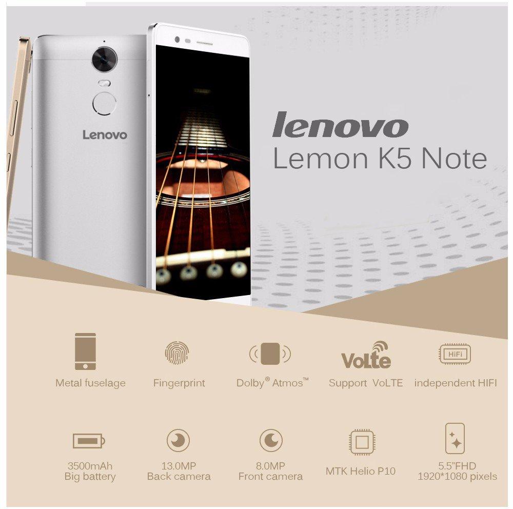100% original Lenovo K5 Note (K52e78) 5 5 inch RAM 3G ROM 32G MTK