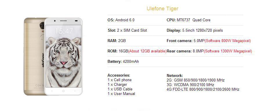 Original Ulefone Tiger Smartphone 5 5 Inch Android 6 0
